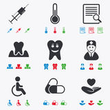 Medicine, medical health and diagnosis icons Stock Image