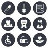 Medicine, medical health and diagnosis icons Royalty Free Stock Photo