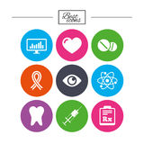 Medicine, medical health and diagnosis icons. Stock Images