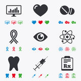 Medicine, medical health and diagnosis icons Royalty Free Stock Image