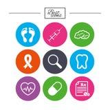 Medicine, medical health and diagnosis icons. Stock Photos