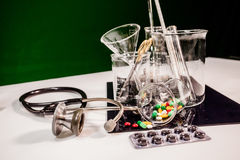 Medicine and medical instruments on table. A doctor prepare medicine and medical instruments on table Stock Photos