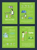 Medicine Medical Statistics Vector Illustration. Medicine and medical statistics, surgery research and nurse care, icons of doctors and their activities vector Royalty Free Stock Images