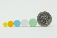 The Medicine and money on white background. Expensive bill. Finance Royalty Free Stock Images