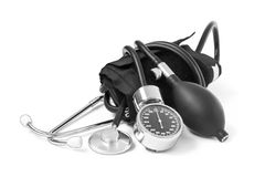 Medicine object. blood pressure with stethoscope Royalty Free Stock Images