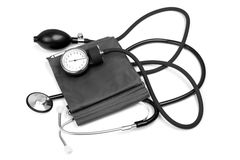 Medicine object. blood pressure with stethoscope Royalty Free Stock Photo