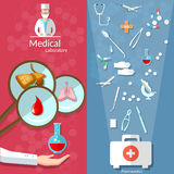 Medicine Open First Aid Kit Transplantation Banners Royalty Free Stock Photography