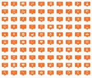 Medicine orange message icons set Royalty Free Stock Photos