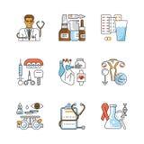 Medicine outline flat icons. Set. Medical symbols isolated on white background. Vector illustration eps 10 Stock Photos
