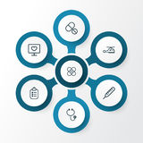 Medicine Outline Icons Set. Collection Of Tablets Stock Photo