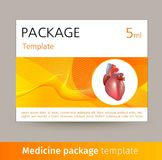 Medicine package template design with realistic human organ heart. Vector illustration Royalty Free Stock Photos