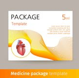 Medicine package template design with realistic human organ heart. Vector illustration Royalty Free Stock Photo