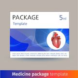 Medicine package template design with realistic human organ heart. Vector illustration Stock Photography
