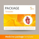 Medicine package template design with realistic human organ heart. Vector illustration Royalty Free Stock Photography