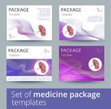 Set of Medicine package template design variations with realistic human spleen. Medicine package template design with realistic human spleen. Vector Stock Images