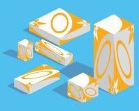 Medicine packaging set. Isometry royalty free illustration