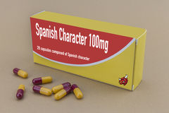 Medicine packet labelled spanish character closed Royalty Free Stock Image