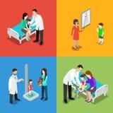 Medicine pediatrician children doctor hospital vector flat 3d Royalty Free Stock Photos