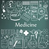 Medicine and pharmaceutical doodle handwriting icons of medicine Royalty Free Stock Photos
