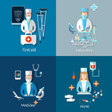 Medicine pharmaceutics set, doctors, x-rays, nurse. Medicine: doctors and patients x-rays crutches, nurse, ambulance, treatment hospital laboratory medication Royalty Free Stock Photo