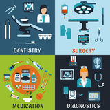 Medicine and pharmacology flat icons Stock Photo