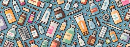 Medicine, pharmacy banner. Medications and pills background. Vector illustration stock illustration