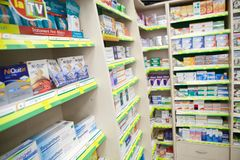 Medicine in a pharmacy Stock Photography