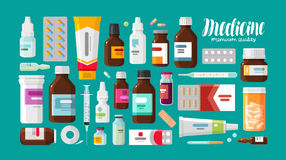 Medicine, pharmacy, hospital set of drugs with labels. Medication, pharmaceutics concept. Vector illustration