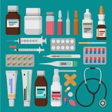 Medicine, pharmacy, hospital set of drugs with labels. vector illustration