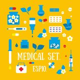 Medicine, pharmacy, hospital set of royalty free illustration
