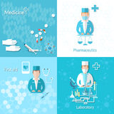 Medicine pharmacy laboratory first aid set. First aid research cross, doctor pharmaceutics pills, drugs, vector illustration Stock Photos