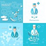 Medicine pharmacy laboratory first aid set Stock Photos