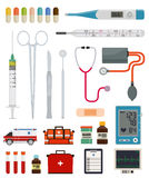 Medicine and pharmacy. Medical instruments, equipment and tools on a white background Royalty Free Stock Photo