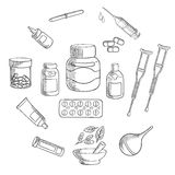 Medicine and pharmacy sketch icon Royalty Free Stock Images