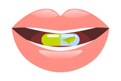 Medicine pill intake. Capsule in mouth vector illustration. Stock Photo