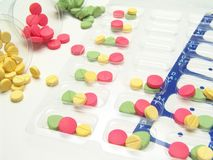 Medicine pill management Stock Images