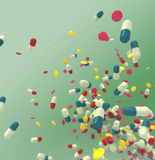 Medicine. Pills in abstract colorful background Stock Image