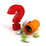 Medicine pills bottle with red question mark Royalty Free Stock Photos