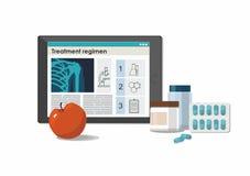 Medicine pills with bottles, treatment scheme on digital tablet. White background. stock illustration