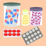 Medicine. Pills in boxes and jars stock illustration