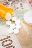 Medicine pills and canadian dollar Royalty Free Stock Photography