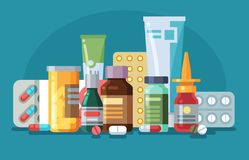 Free Medicine. Pills, Capsules And Glass Meds Bottles With Medicine, Tubes With Ointment, Medication Spray. Pharmacological Stock Image - 158632601