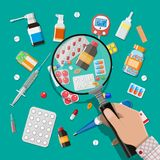 Medicine pills capsules and healthcare devices royalty free illustration