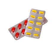 Medicine pills and capsules packed in blisters Royalty Free Stock Image