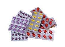 Medicine pills and capsules packed in blisters Royalty Free Stock Photography