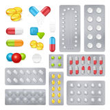 Medicine Pills Capsules Realistic Images Set. Pharmaceutical products medicine pills and capsules in push through aluminium laminated foil packages realistic set Stock Images