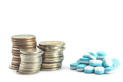 Medicine pills and coin stack Royalty Free Stock Photo