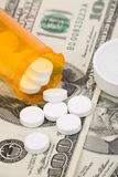 Medicine pills and dollar Royalty Free Stock Photography