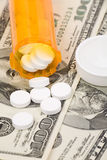 Medicine pills and dollar Stock Image