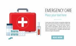 Medicine pills, First Aid Box, Medical test tube. Web banner. royalty free illustration